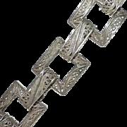 Silverplate Filigree Square Link Bracelet