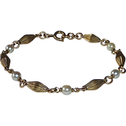 Gold Filled Fluted Bead & Cultured Pearl Bracelet