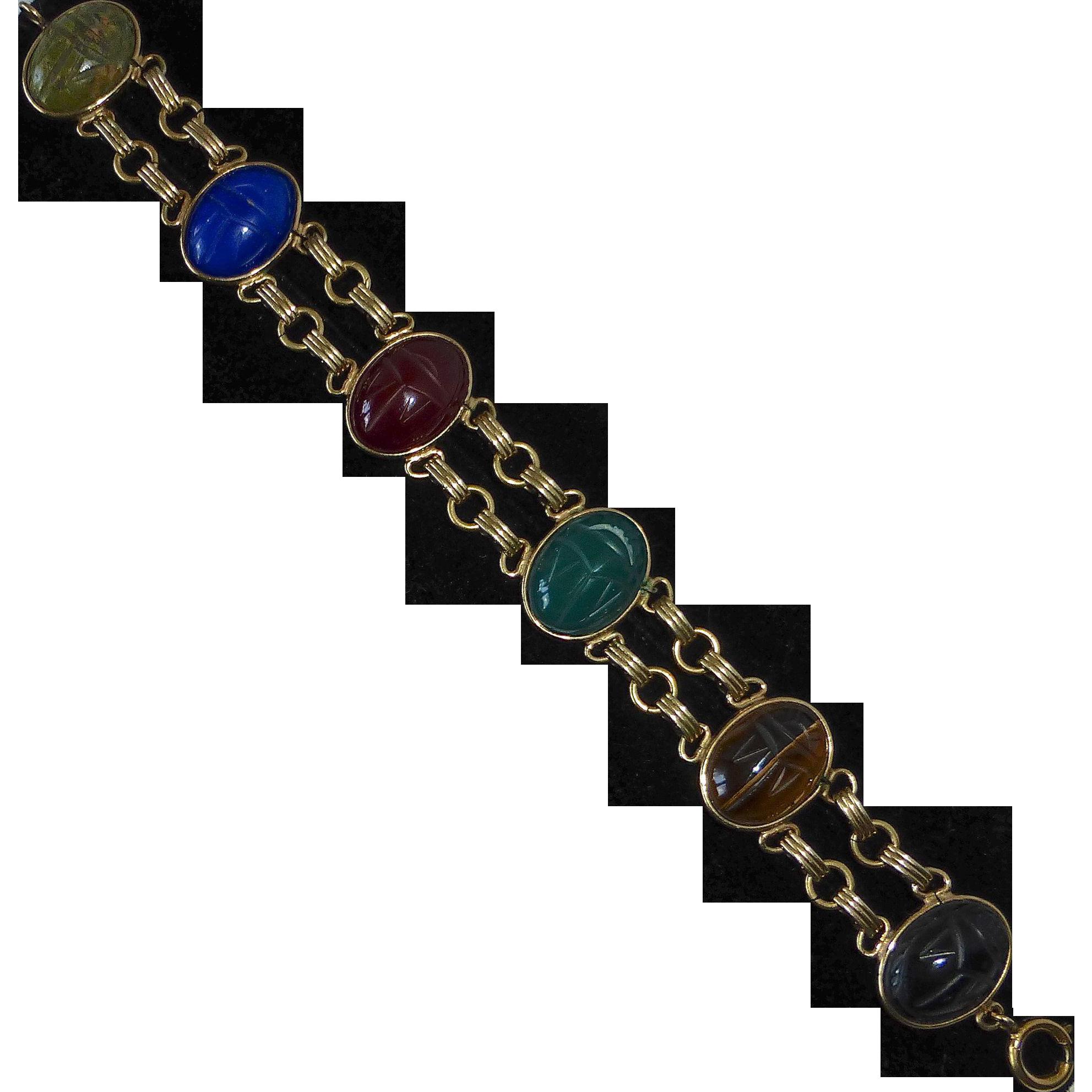 Egyptian Revival GF Bracelet Gemstone Scarabs c1950s