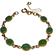 Gold Filled Serpentine Cabochon Bracelet