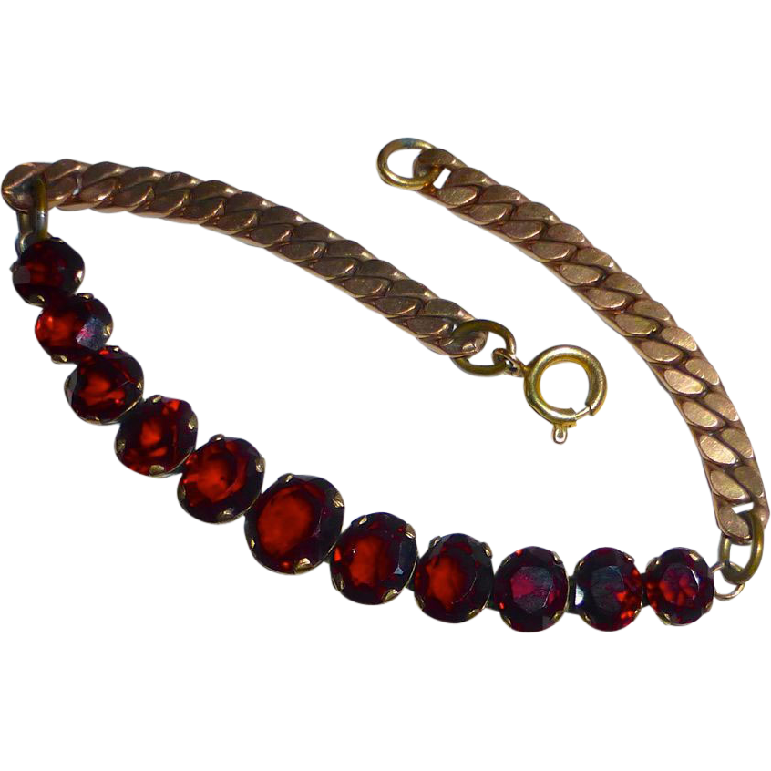 Rose Gold Filled Garnet Bracelet