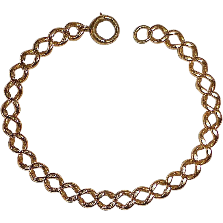 Antique 14k Rose Gold Curb Chain Bracelet