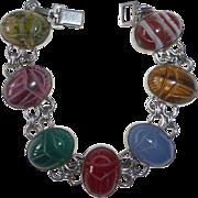 Egyptian Revival WRE Sterling Bracelet Gemstone Scarabs c1950s