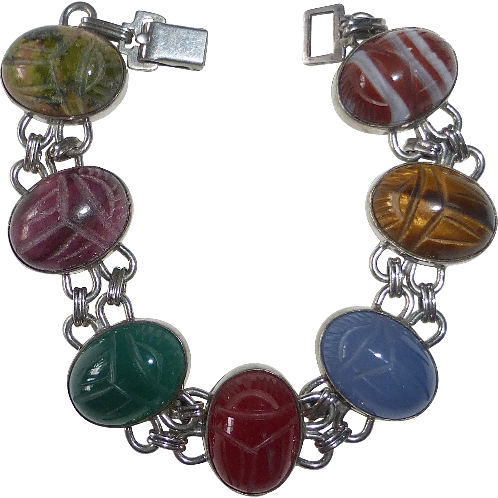 Egyptian Revival WRE Sterling Bracelet Gemstone Scarabs c1950s