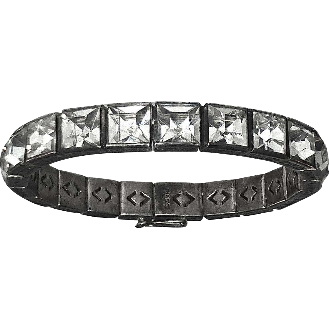 Art Deco Sterling Bracelet Channel Set Large Paste Stone