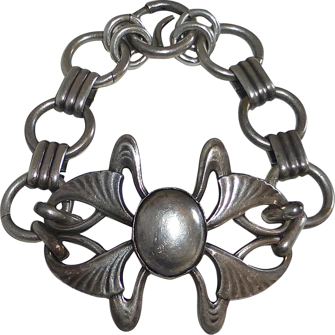 Antique Art Nouveau Sterling Link Bracelet