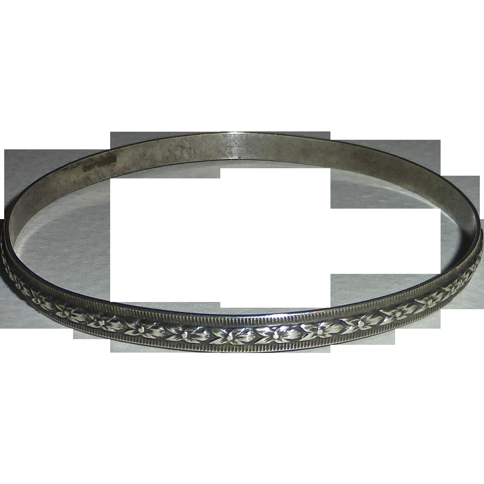 Sterling Silver Bangle Bracelet Embossed Floral Design