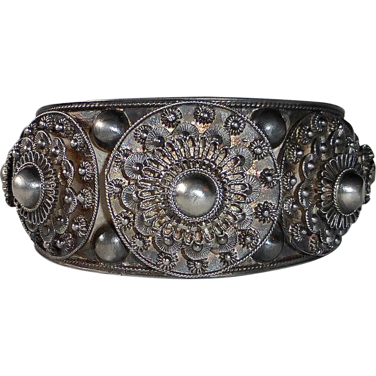 Ornate Silver Cannetille Filigree Cuff Bracelet