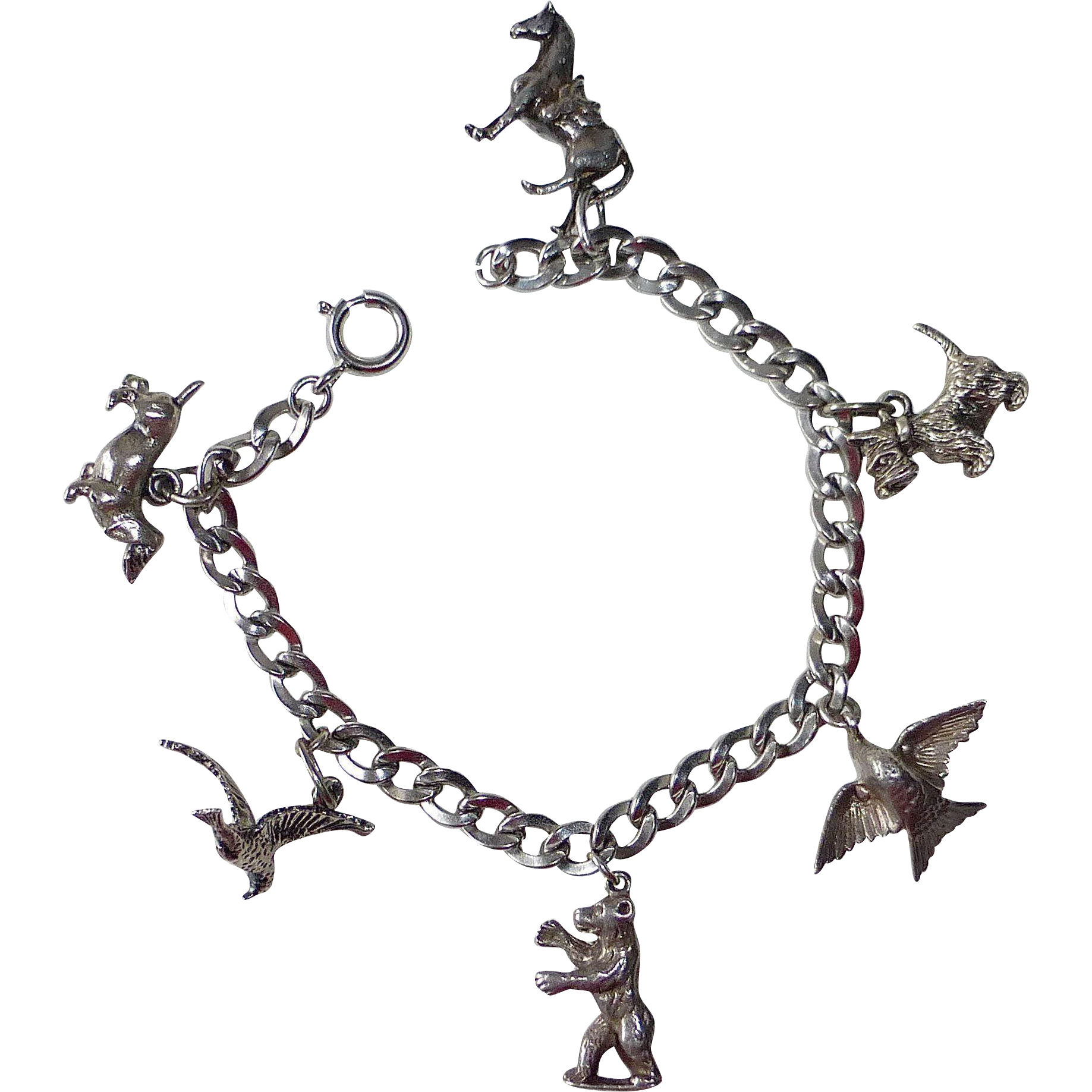 Beau Sterling Silver Animal Charm Bracelet