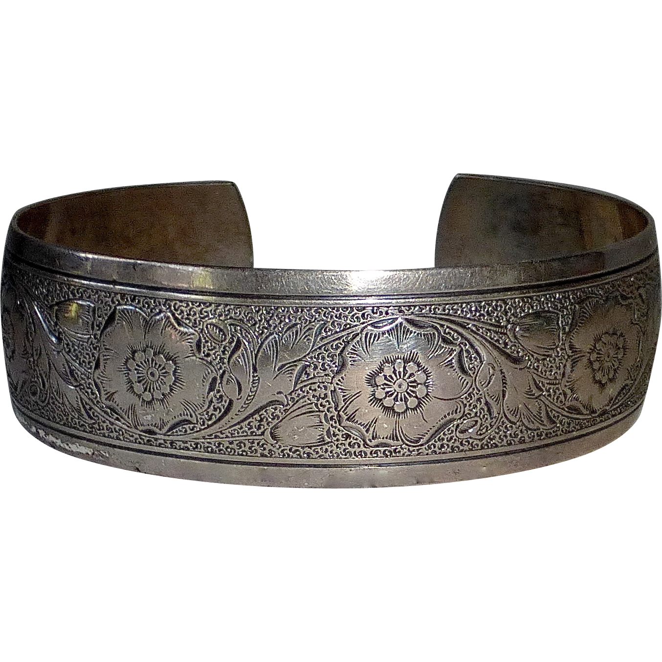 Vintage Danecraft Sterling Embossed Cuff Bracelet