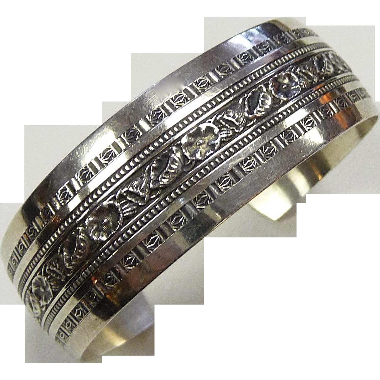 Sterling Cuff Bracelet Floral & Geometric Pattern