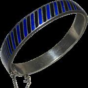 Heavy Sterling Hinged Enamel Bracelet