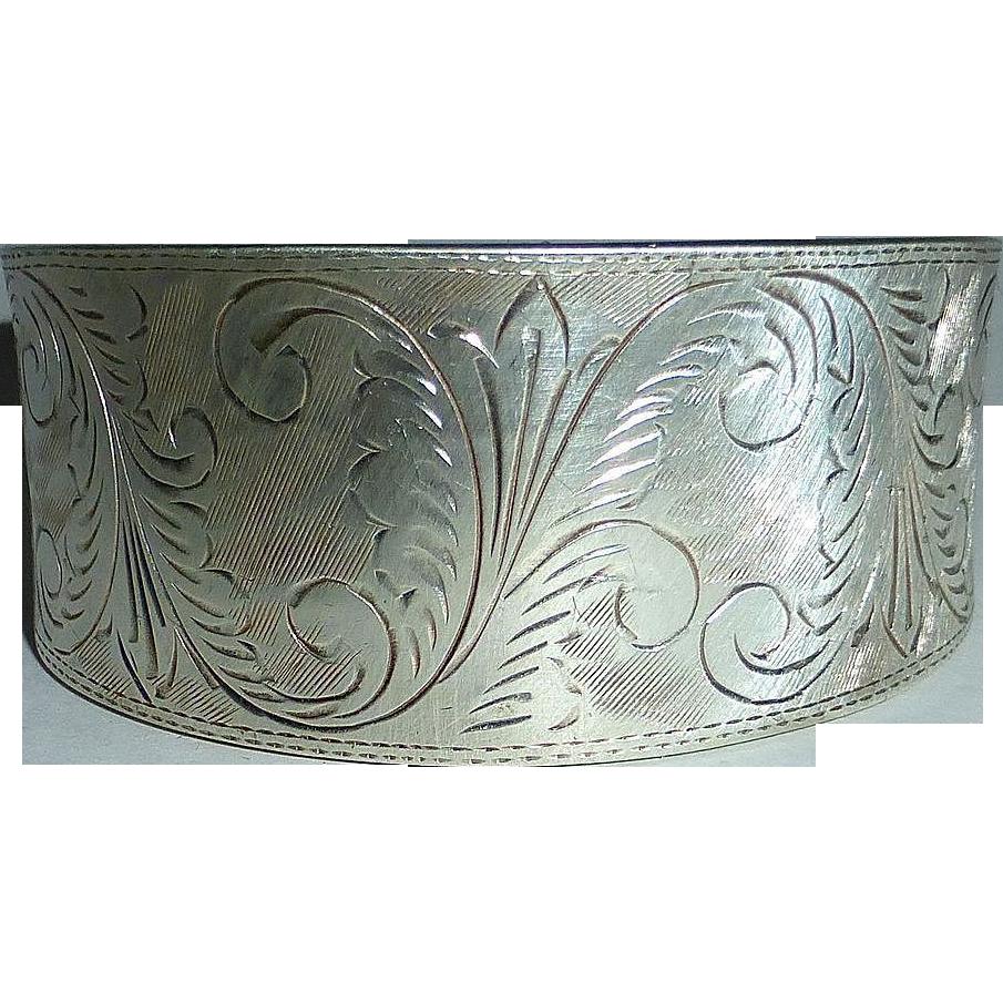 Engraved Foliate Design Sterling Wide Cuff Bracelet