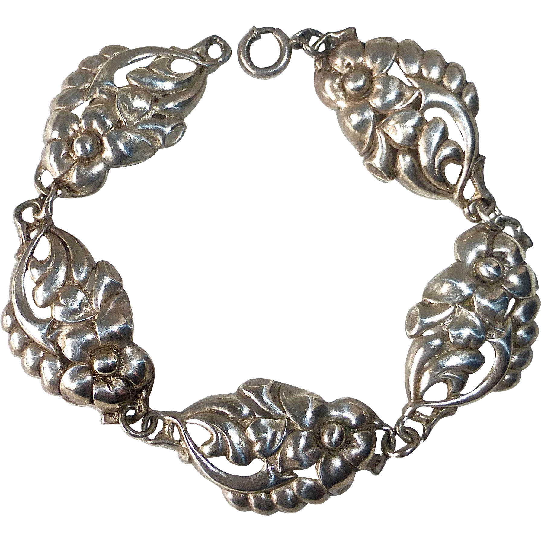 Sterling Domed & Pierced Flower Link Bracelet