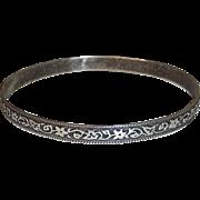 Sterling Silver Bangle Bracelet Embossed Floral Vine