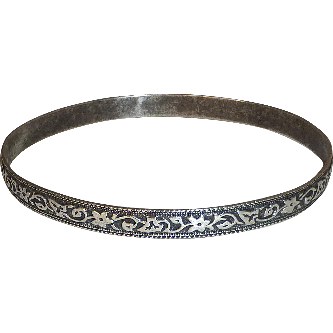 Sterling Silver Bangle Bracelet Embossed Floral Vine