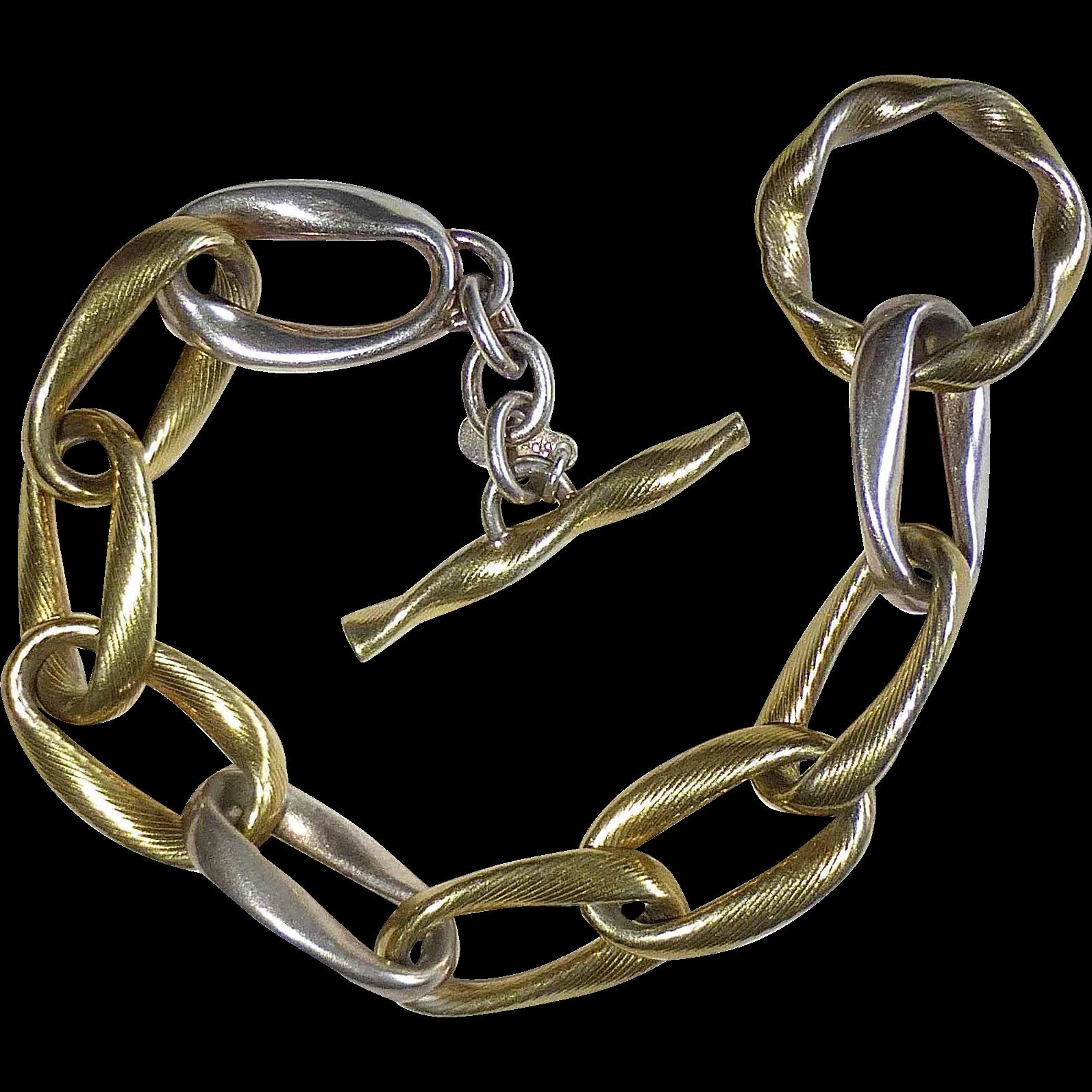 Sterling & Vermeil Sterling Open Link Bracelet