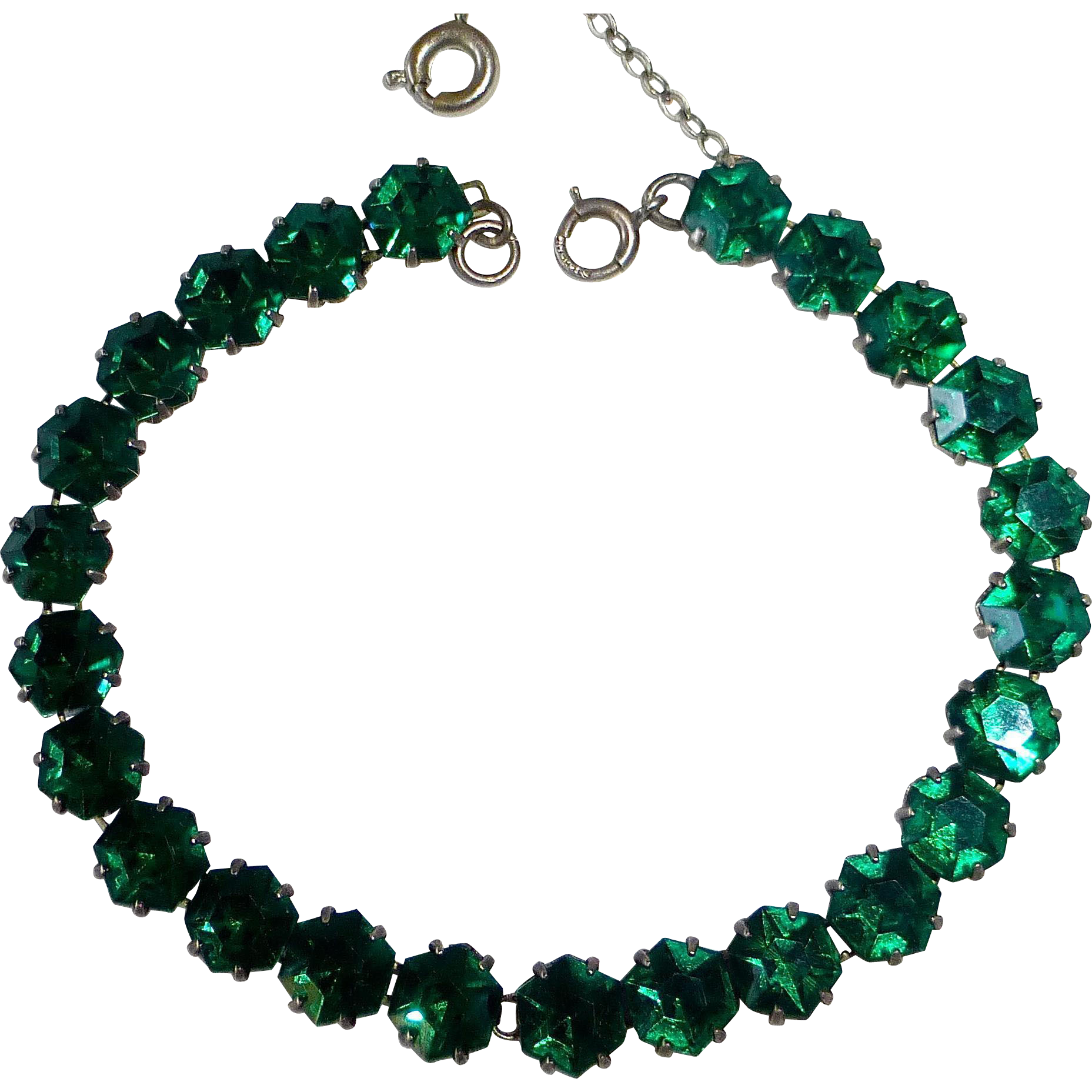 Art Deco Sterling Emerald Green Rhinestone Bracelet