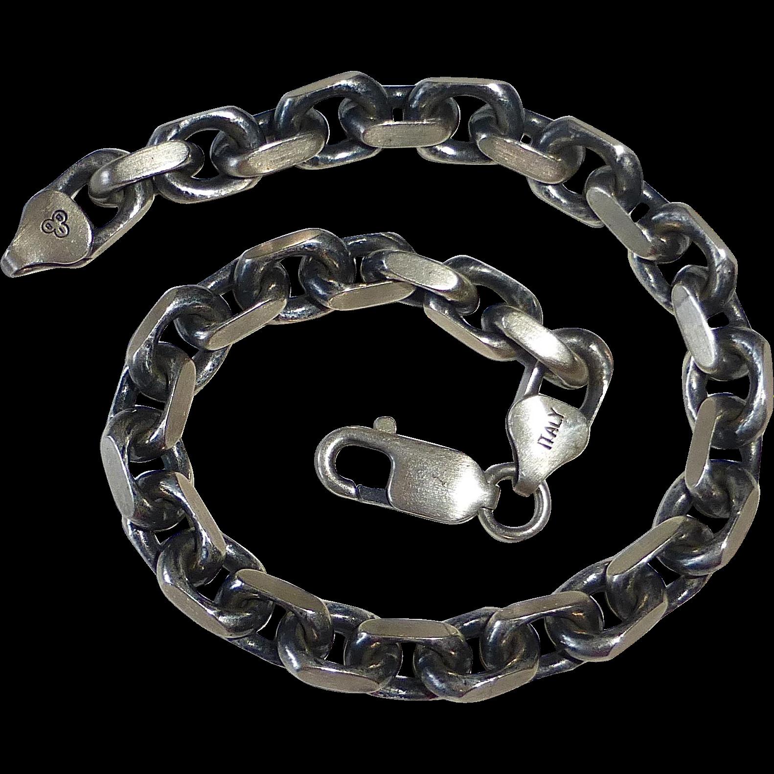Sterling Heavy Link Italian Chain Bracelet