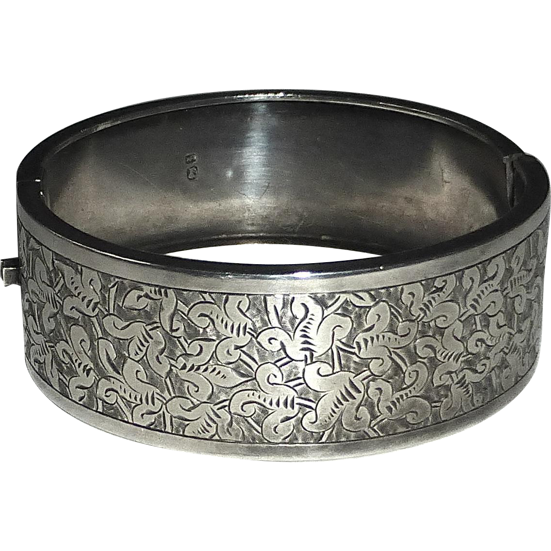 Antique Victorian Engraved Sterling Hinged Bangle Bracelet