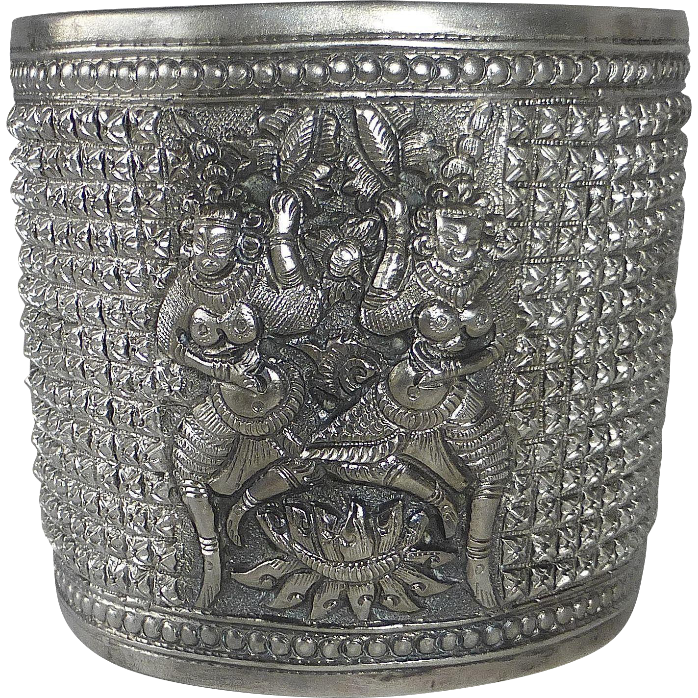 French Indochina Sterling X Wide Ethnic Cuff Bracelet