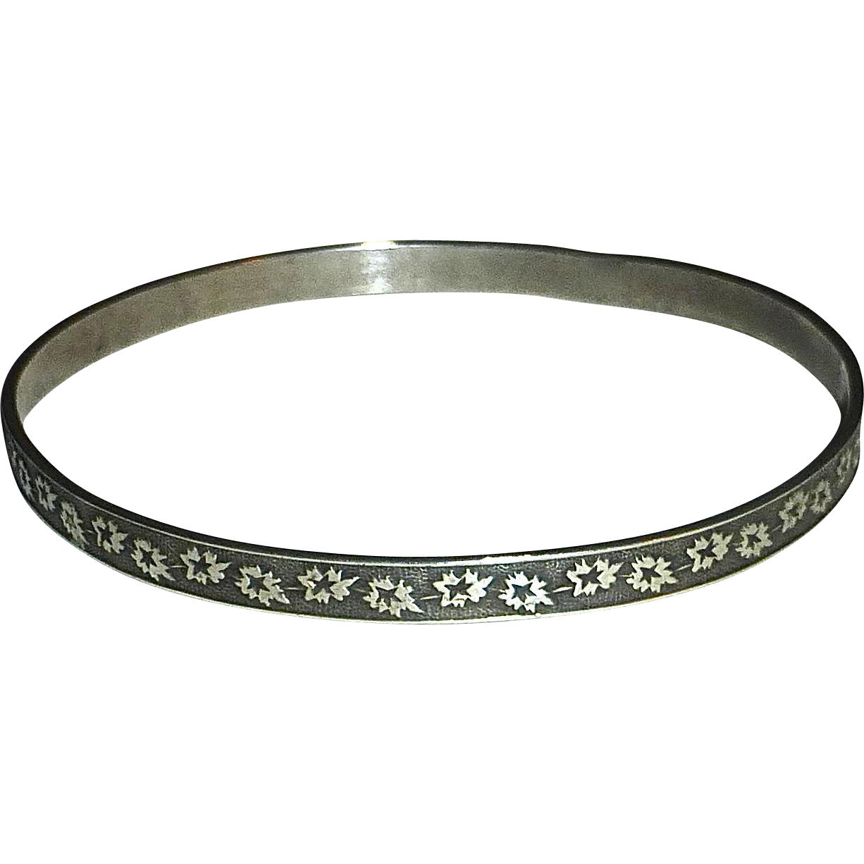 Sterling Leaf Star Patterned Bangle Bracelet