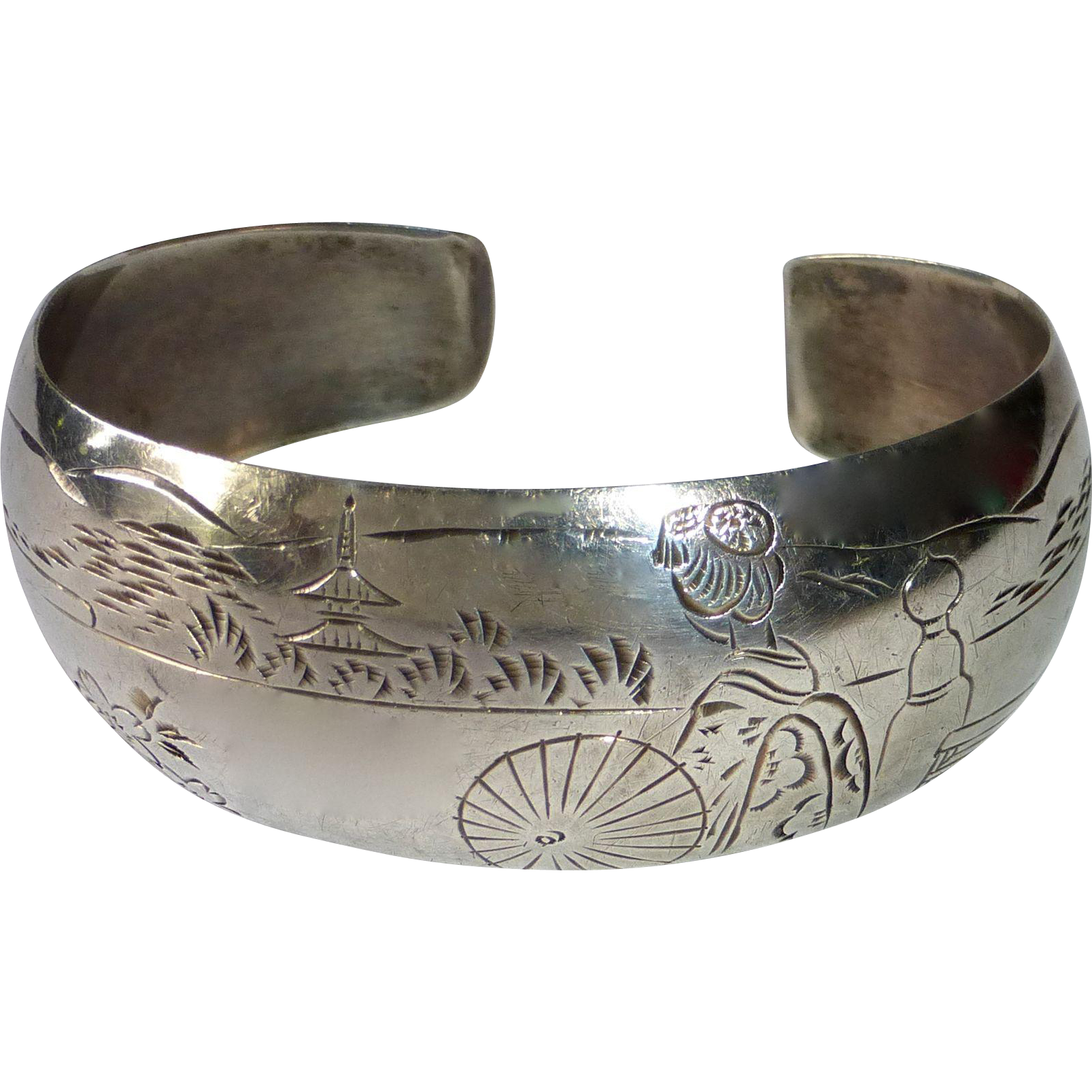 sterling cuff bracelet japanese scenic design from