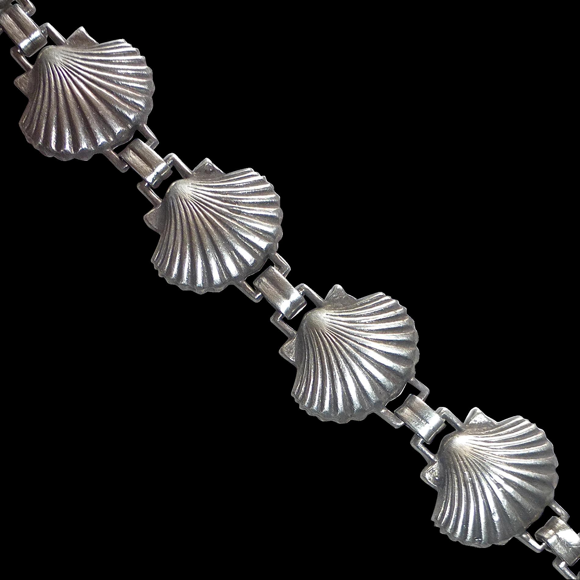 Sterling Bracelet of Figural Scallop Shells