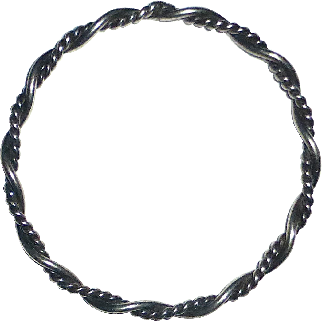 Sterling Twisted & Round Wire Bangle Bracelet