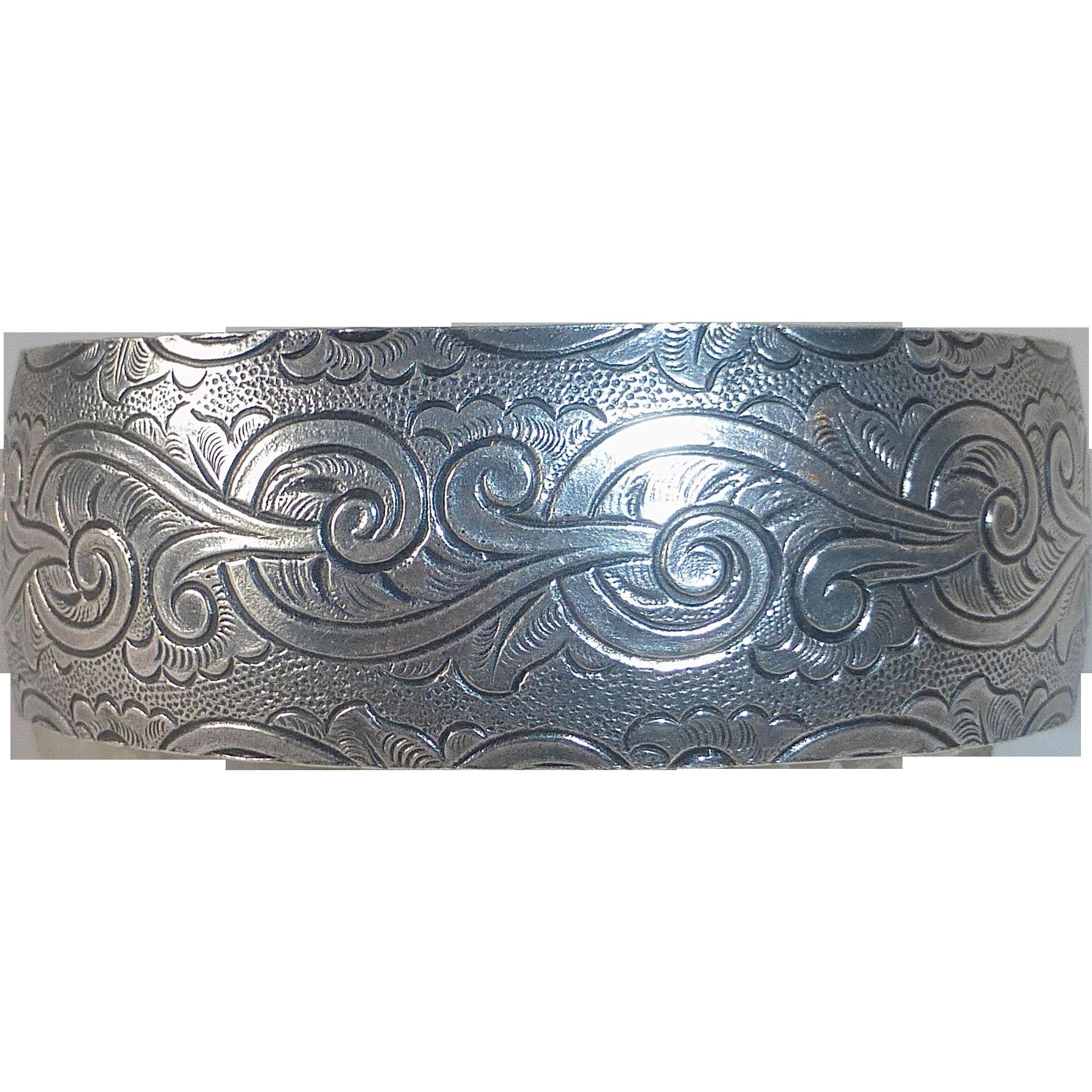 Sterling Cuff Bracelet Embossed Design