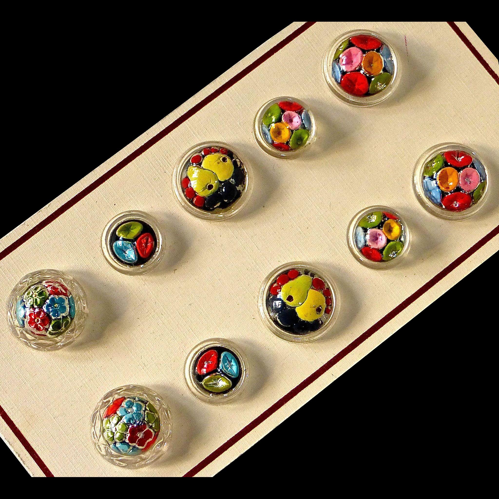 Czech Reverse Painted Underglass 10 Button Card