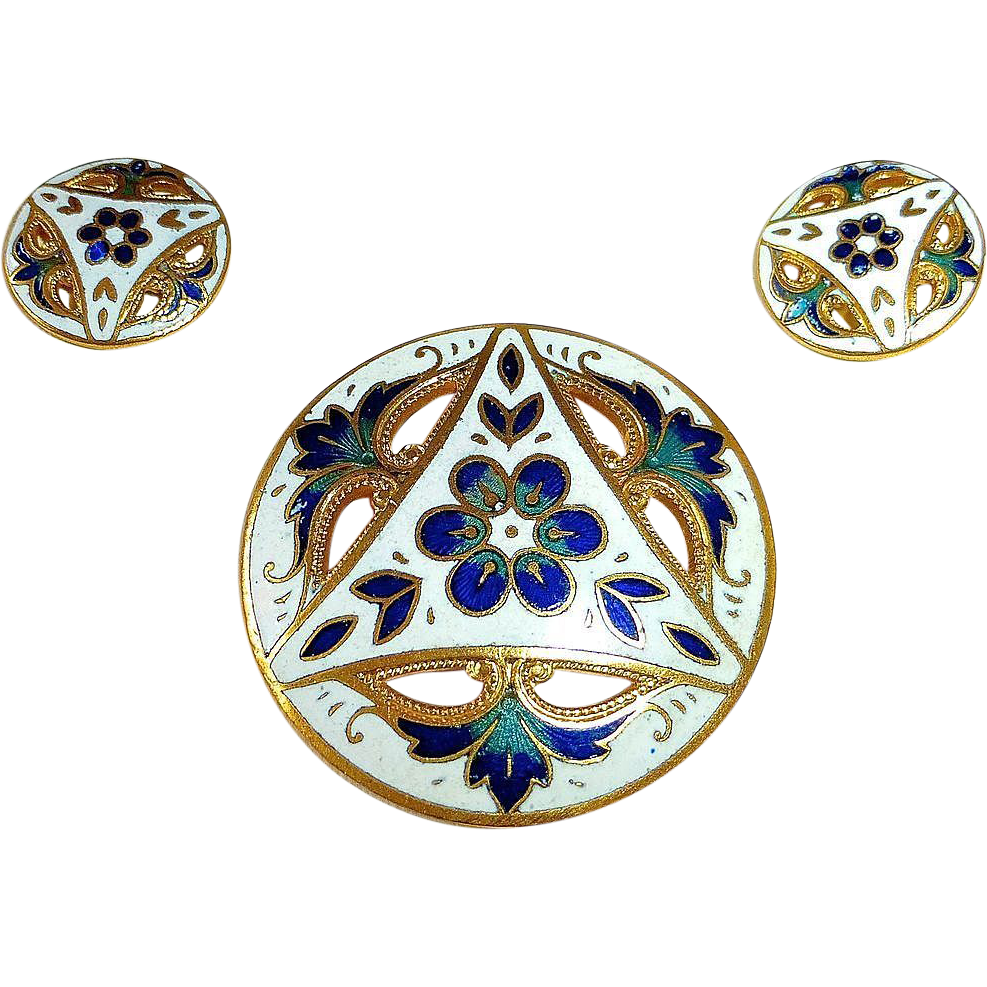 Set of 3 Mother Daughter Gilt Brass Enamel Buttons