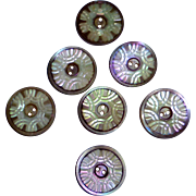 Set of 7 Carved Mother of Pearl Buttons