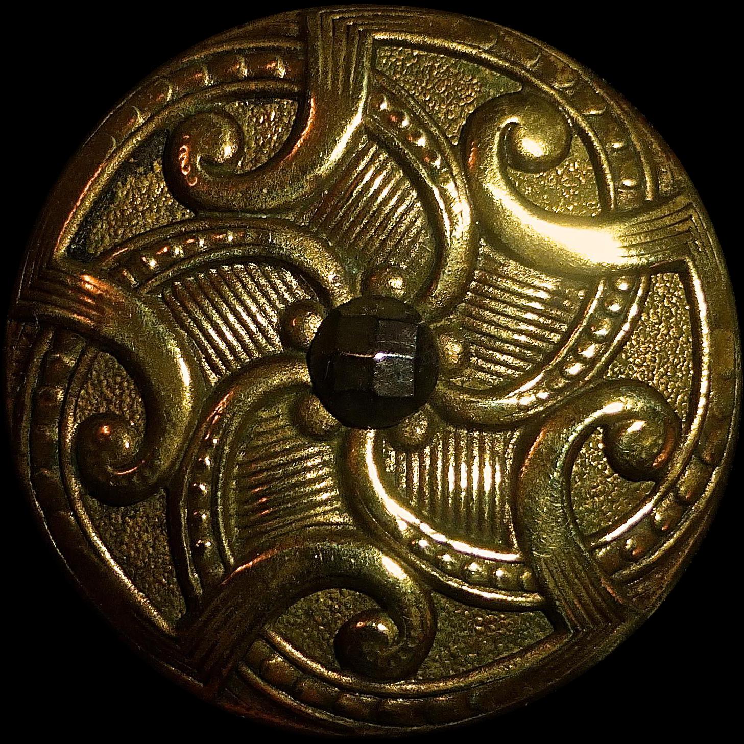 Ornate Brass Button w Cut Steel Center
