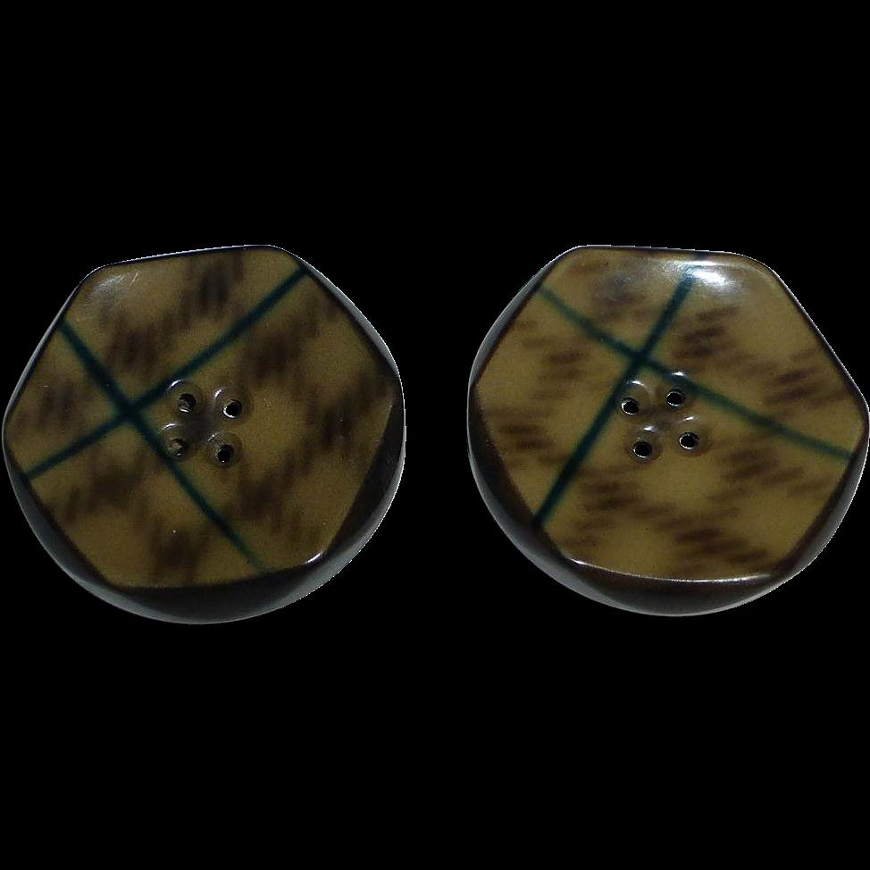 Art Deco Celluloid Plaid Pattern Button Pair