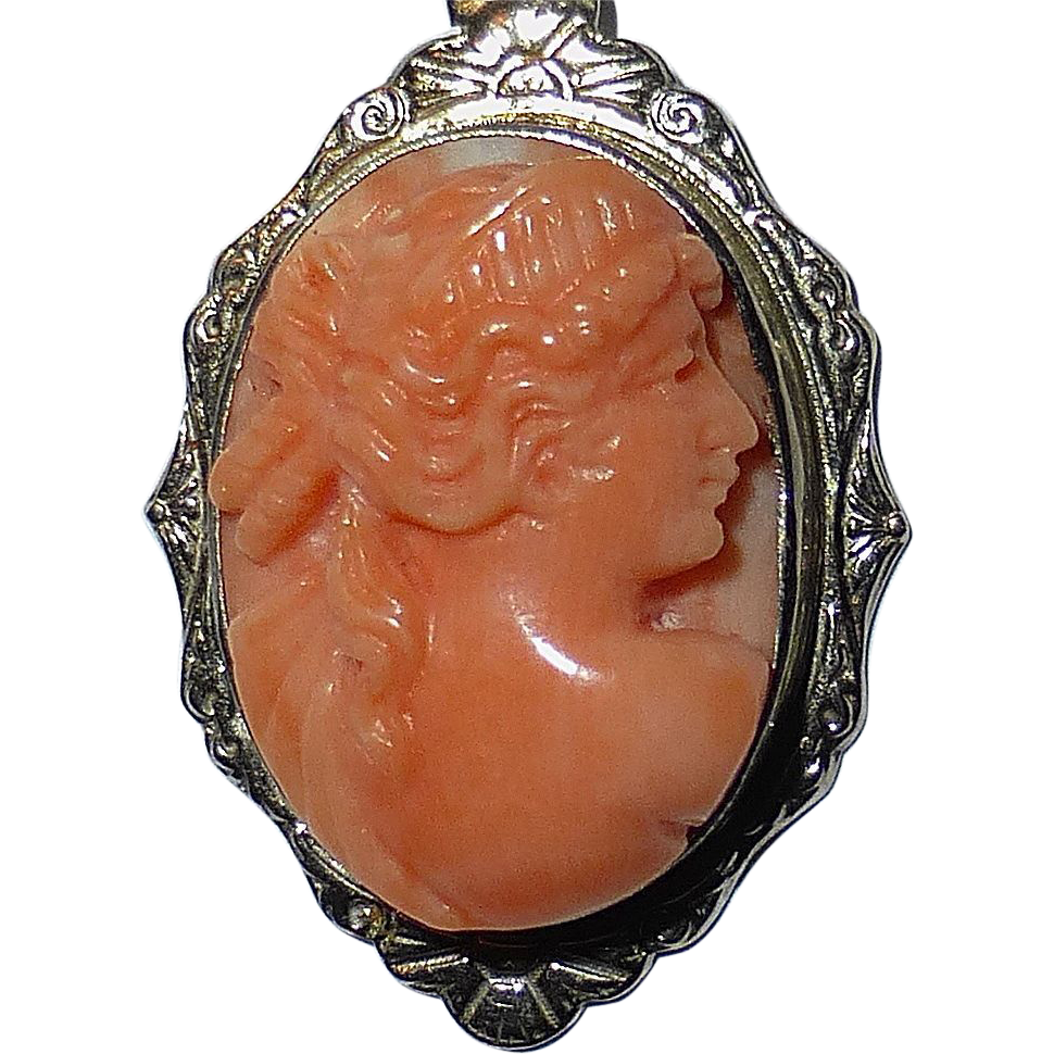 Carved Genuine Coral Cameo i14k White Gold