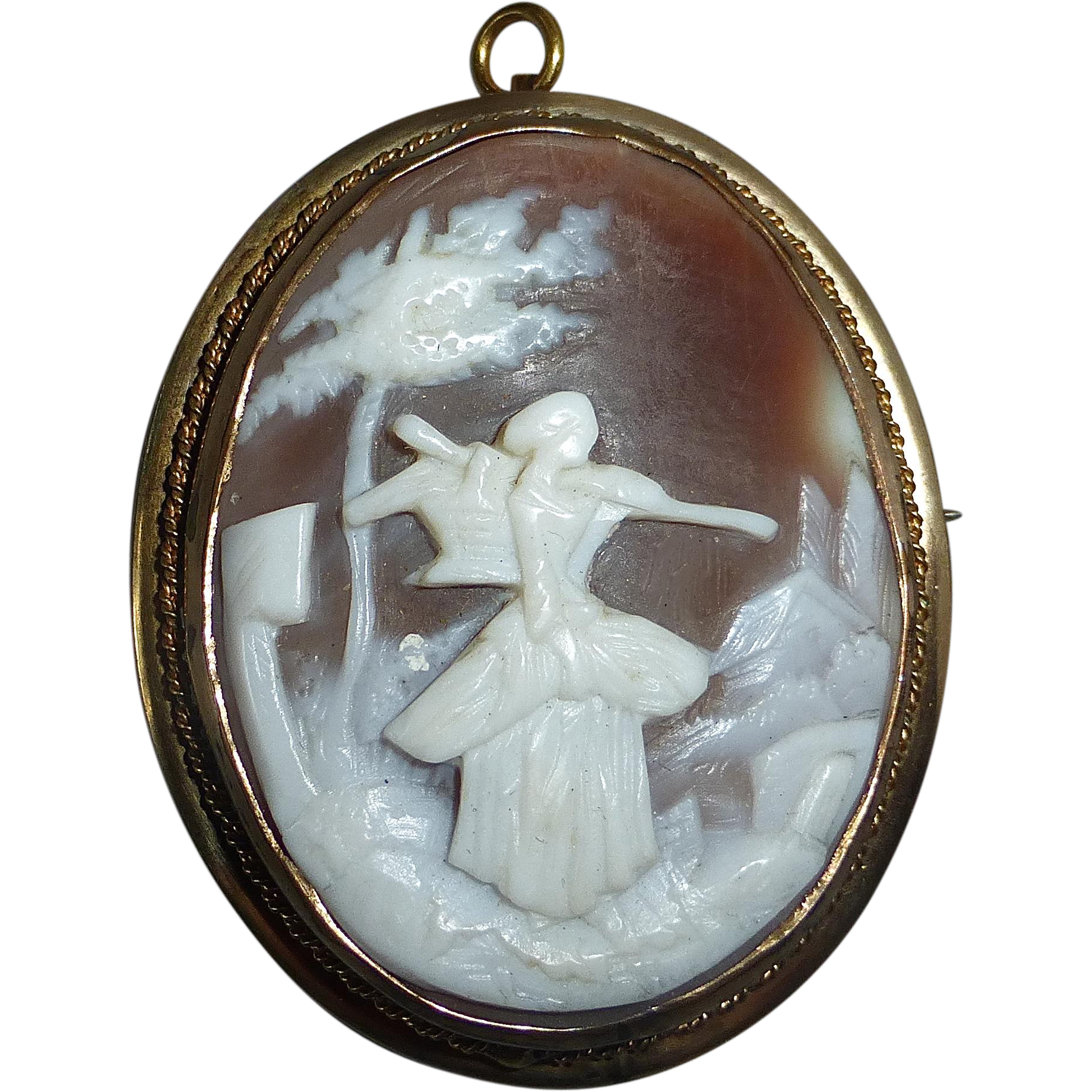 Antique Gold Filled Rebecca Carved Shell Cameo Pin/Pendant