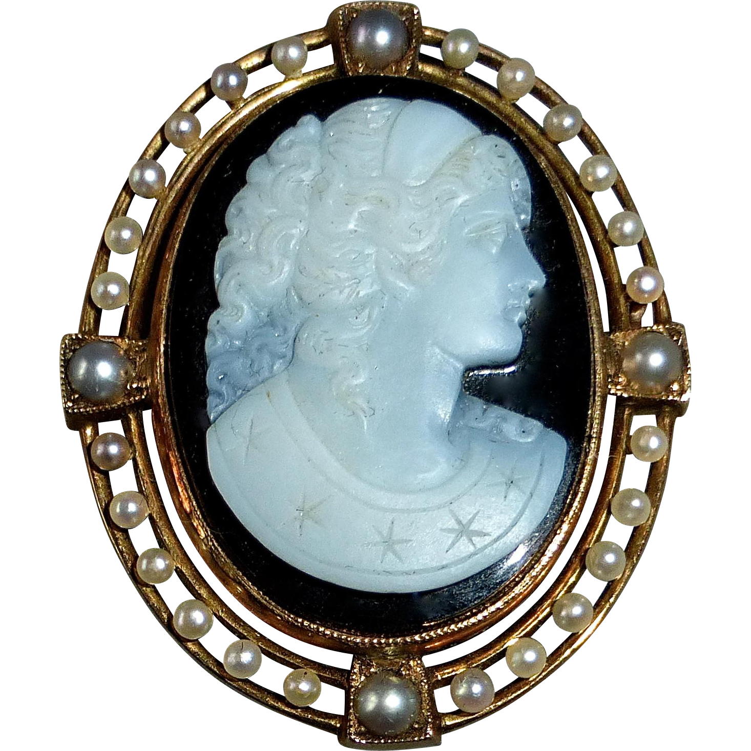 Antique 14k Rose Gold Hardstone Cameo Pin/Pendant Seed Pearl Frame