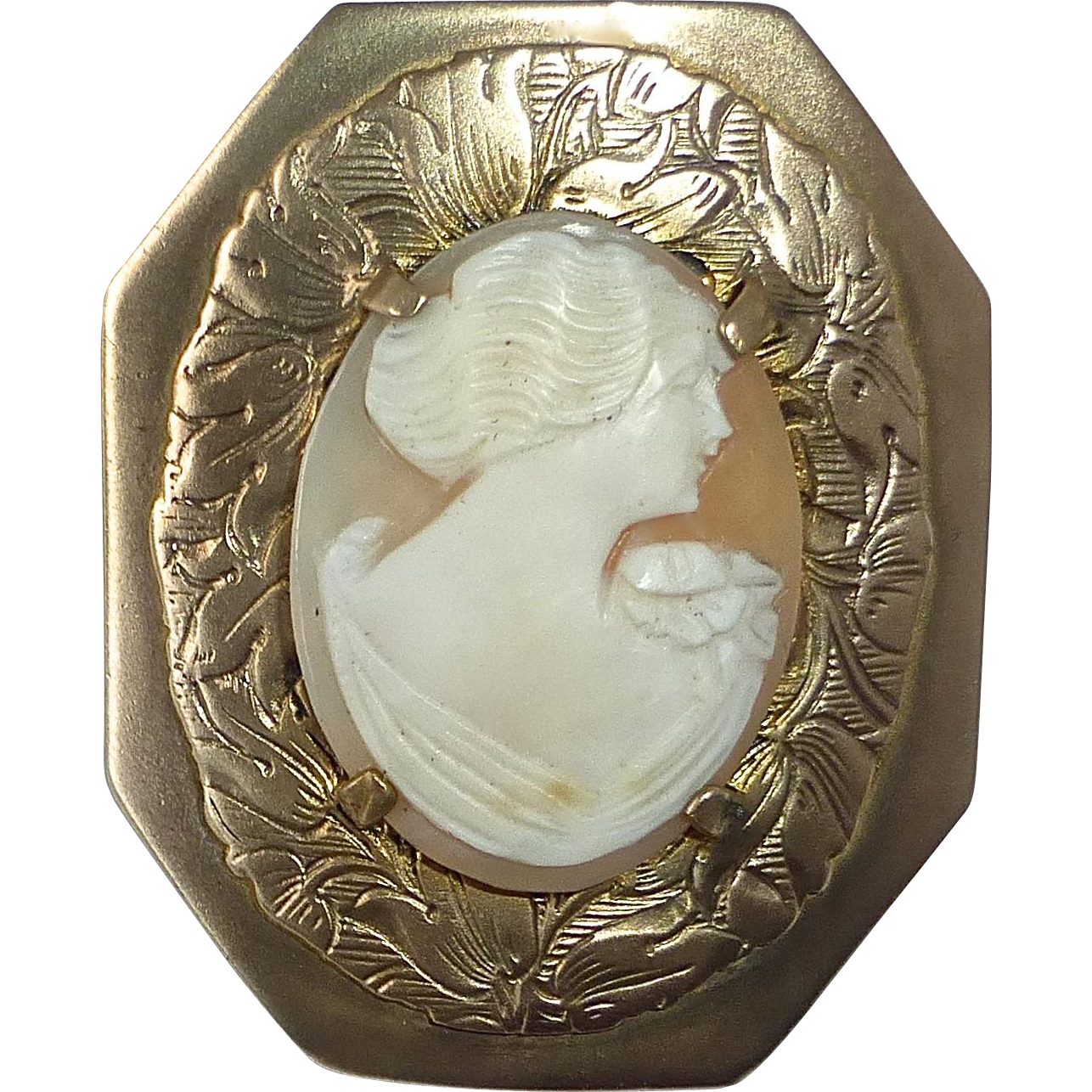 Carved Shell Cameo in Floral Brass Frame