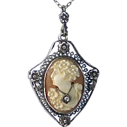 Carved Shell Cameo Woman w Necklace Sterling Filigree Frame