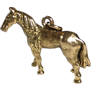 9k Yellow Gold Three Dimensional Horse Charm