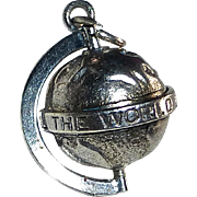 "Sterling Globe Charm 'All The World Loves A Lover"" - Red Tag Sale Item"