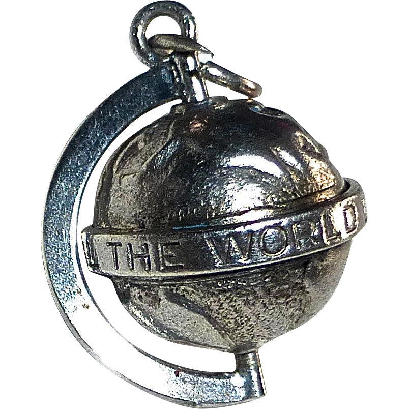Sterling Globe Charm 'All The World Loves A Lover""