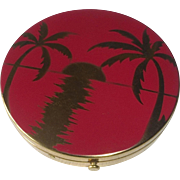 Rex 5th Ave Red Enamel Compact Setting Sun & Palm Trees