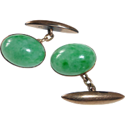 Antique 14k Rose Gold Fine Jade Jadeite Cufflinks