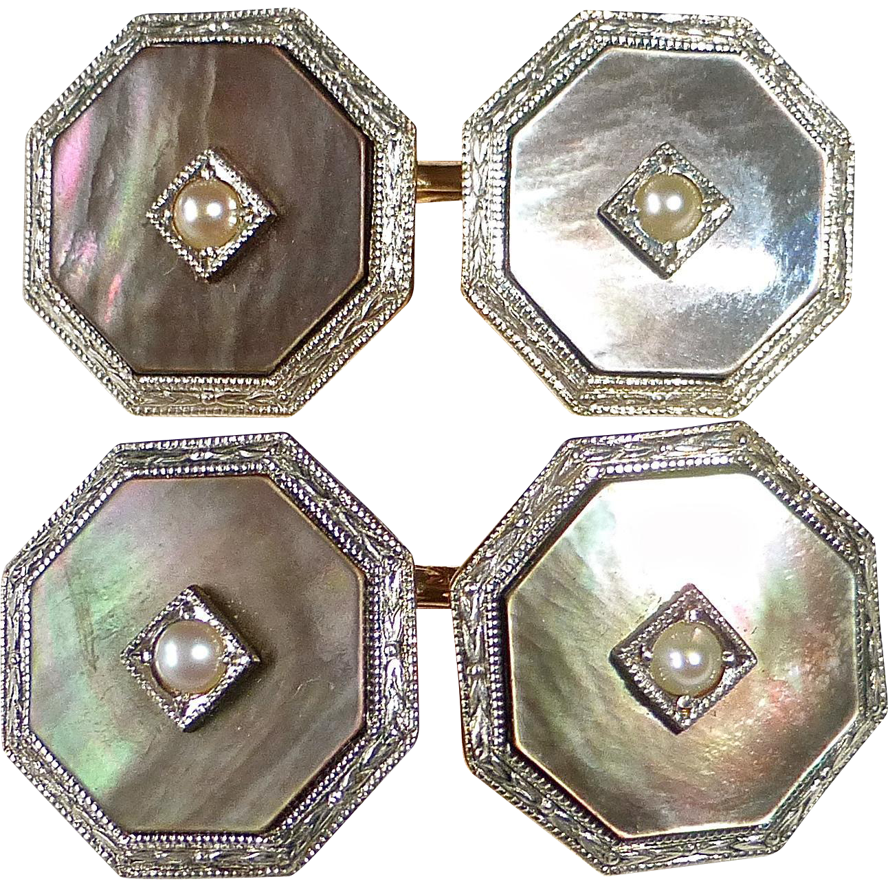 14k Mother of Pearl & Pearl Krementz Double Sided Cufflinks MIB