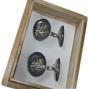 Sterling Scenic Japanese Damascene Cufflinks