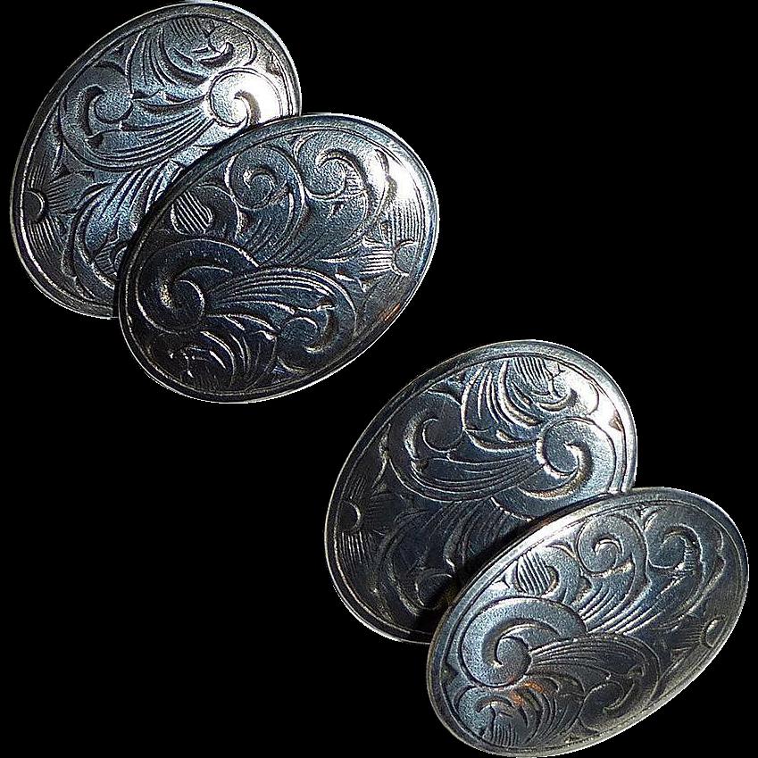 Sterling Silver Double Sided Foliate Design Cufflinks