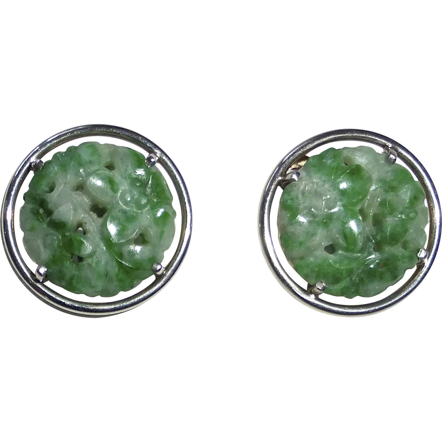 14k White Gold & Carved Jade Clip Earrings