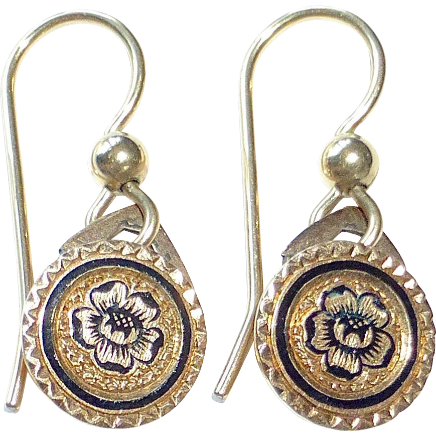 Victorian 14k Enamel Rose Repurposed Pierced Earrings